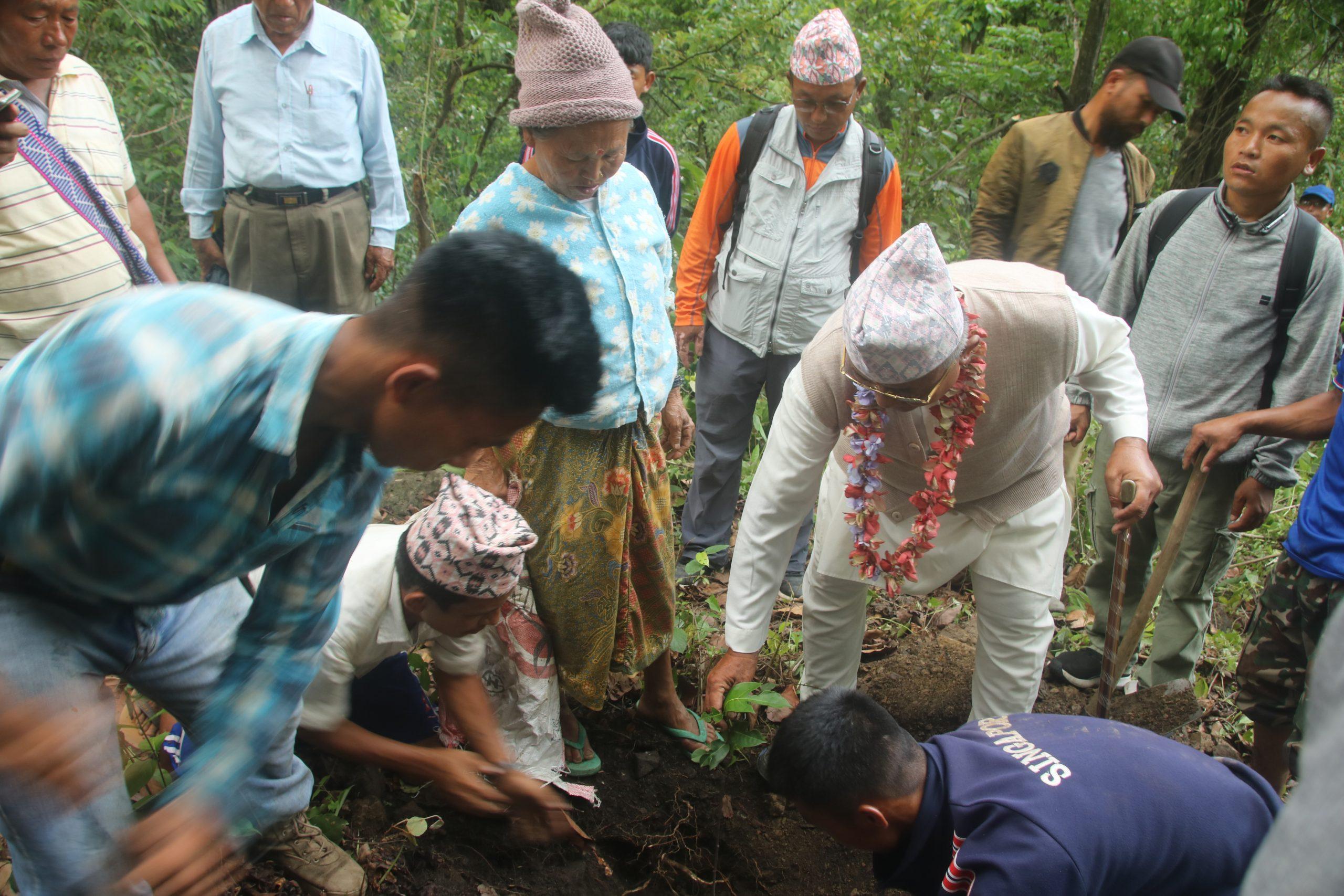 किरात धार्मिक तिर्थस्थल तपोभूमि खत्रक्पा र फुलुङगीमा वृक्षारोपण