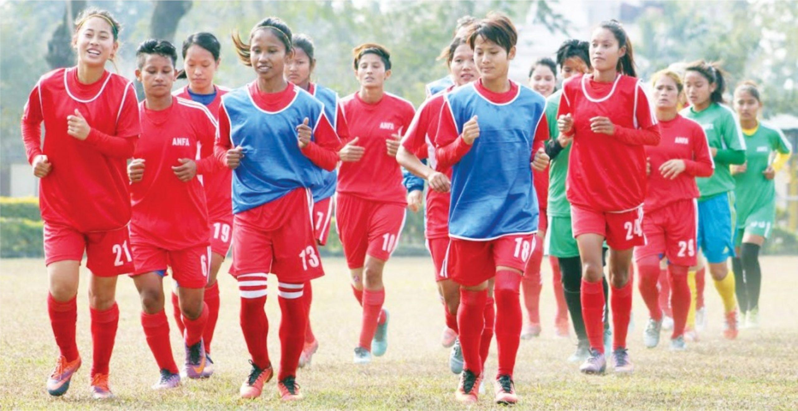 एएफसी महिला एसियन कप छनोटमा नेपालले फिलिपिन्सविरुद्ध खेल्दै